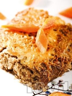 Постна веган мусака без заливка и без пържене със соева кайма (гранули), гъби, картофи и сирене тофу - снимка на рецептата